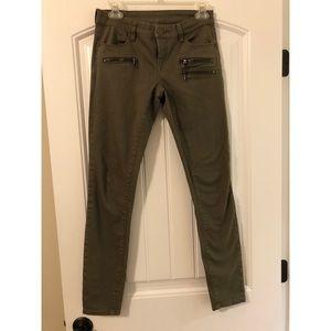 Blank NYC olive moto skinny jeans size 26